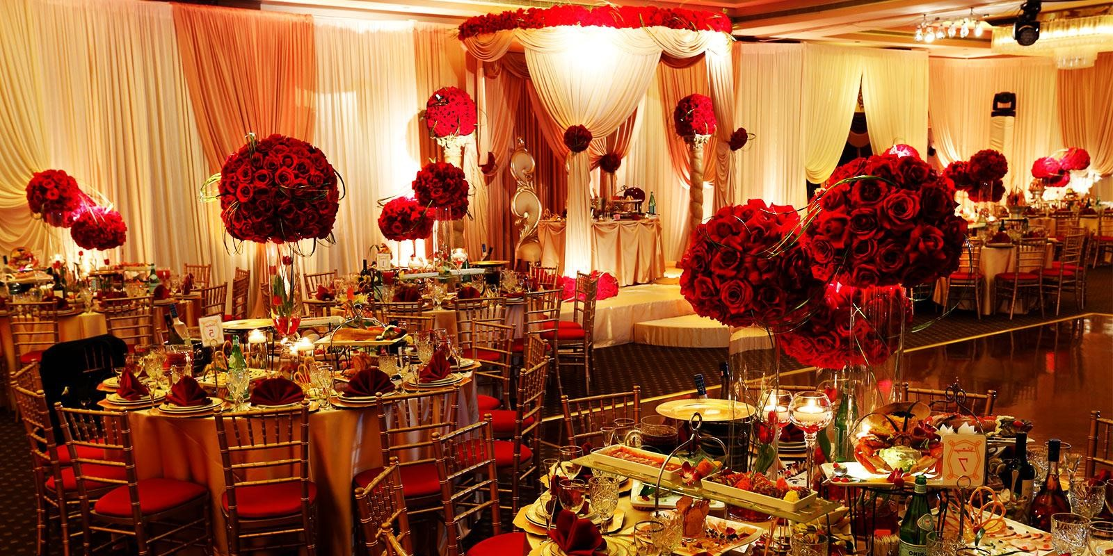 Gold and red wedding decor for Wedding event decorators